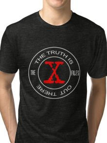 X-Files, red, white, black logo design Tri-blend T-Shirt