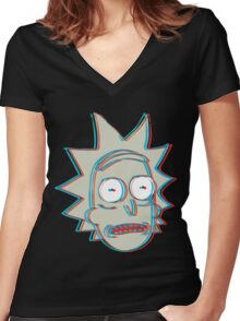 Rick and Morty: 3D Rick Version 2 Women's Fitted V-Neck T-Shirt