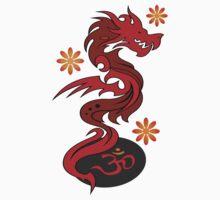 Dragon 58 om flowers One Piece - Short Sleeve