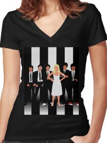 Minimalist Parallel Lines Women's Fitted V-Neck T-Shirt
