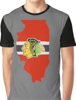Chicago Blackhawks Jersey - Illinois Outline Graphic T-Shirt