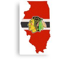 Chicago Blackhawks Jersey - Illinois Outline Canvas Print