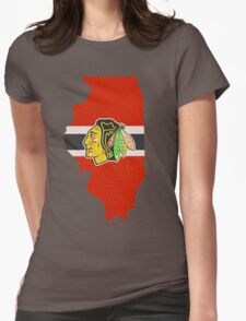 Chicago Blackhawks Jersey - Illinois Outline Womens Fitted T-Shirt