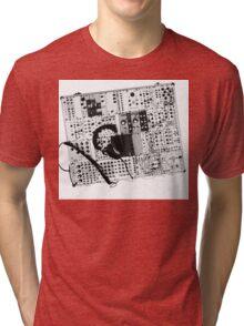 analog synthesizer illustration b&w - music equipment Tri-blend T-Shirt