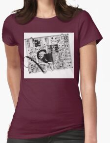 analog synthesizer illustration b&w - music equipment Womens Fitted T-Shirt
