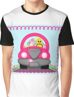 Happy Easter Spring Chick Driving Pink Car Graphic T-Shirt