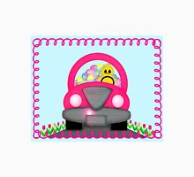 Happy Easter Spring Chick Driving Pink Car Unisex T-Shirt
