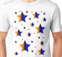 Orange and Blue Vertical Stars Unisex T-Shirt