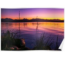 Colourful sunset at Lake Moogerah in Queensland Poster