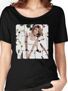 Girls' Generation (SNSD) Sooyoung Flower Typography Women's Relaxed Fit T-Shirt