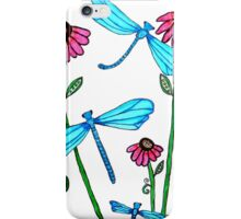 Blue Dragonflies with Flowers iPhone Case/Skin