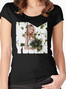 Girls' Generation (SNSD) Yoona Flower Typography Women's Fitted Scoop T-Shirt