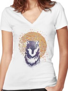 Moonlight Wolf Women's Fitted V-Neck T-Shirt