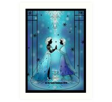 Silhouette Anna and Elsa Art Print