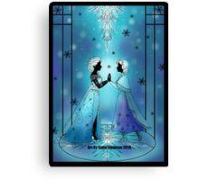 Silhouette Anna and Elsa Canvas Print
