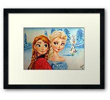 Anna and Elsa (and Olaf!)  Framed Print