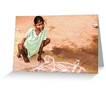 Able and disabled - Girl in Alanganeri village, India Greeting Card