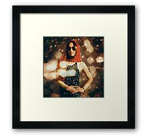 Model at a runway catwalk show during fashion week Framed Print