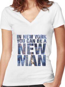 New York, New Man Women's Fitted V-Neck T-Shirt