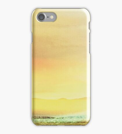 Bold Yellow Bright Yellow Sunset, Abstract Desert Water Scape #redbubble iPhone Case/Skin