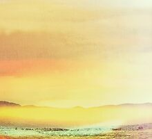 Bold Yellow Bright Yellow Sunset, Abstract Desert Water Scape #redbubble by beelinestudio