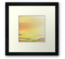 Bold Yellow Bright Yellow Sunset, Abstract Desert Water Scape #redbubble Framed Print