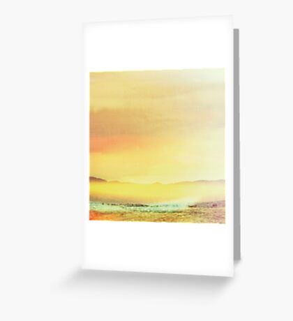 Bold Yellow Bright Yellow Sunset, Abstract Desert Water Scape #redbubble Greeting Card