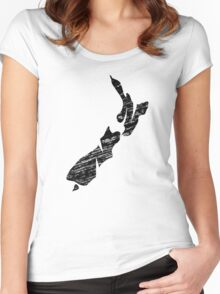 NZ, New Zealand, Alphabet, Country, Map, Islands, North Island, South Island Women's Fitted Scoop T-Shirt