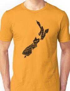 NZ, New Zealand, Alphabet, Country, Map, Islands, North Island, South Island Unisex T-Shirt