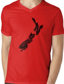 NZ, New Zealand, Alphabet, Country, Map, Islands, North Island, South Island Mens V-Neck T-Shirt