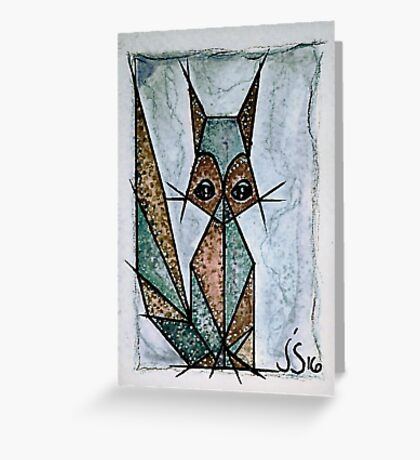 Abstract Brown and Greenish Grey Cat Greeting Card