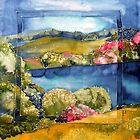 Ireland in spring silk painting by Krisztina Borody