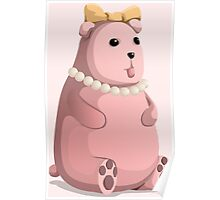 Cute Little Pink Teddy Bear with Bow Tie Poster