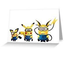 Pichu, Pika and Raichu minion Greeting Card