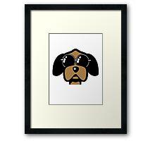 dog funny love Sunglasses Framed Print