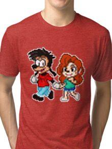 Goofy Movie - Max and Roxanne Running Pixel Art Tri-blend T-Shirt
