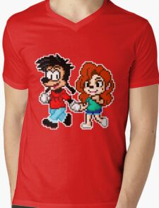 Goofy Movie - Max and Roxanne Running Pixel Art Mens V-Neck T-Shirt