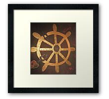 Captain's Wheel Shackled with Love Heart Framed Print