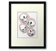 Four Skulls in Pastel Pink Framed Print