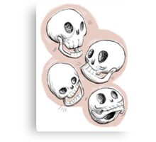 Four Skulls in Pastel Pink Canvas Print