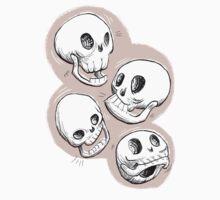 Four Skulls in Pastel Pink T-Shirt