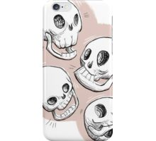 Four Skulls in Pastel Pink iPhone Case/Skin