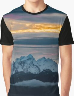 Olympic Mountains Sunset Graphic T-Shirt