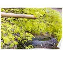 Zen bamboo fountain Poster