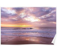 Sunset on the beach at Watergate Bay, Cornwall, UK Poster