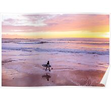 Surfer at sunset, Watergate Bay, Cornwall, UK Poster