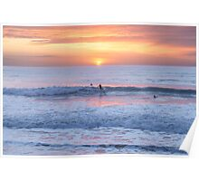 Surfing the sunset waves at Watergate Bay, Cornwall, UK Poster