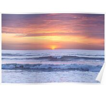 unset waves at Watergate Bay, Cornwall, UK Poster
