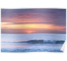 Wave breaking at sunset, Watergate Bay, Cornwall, UK Poster