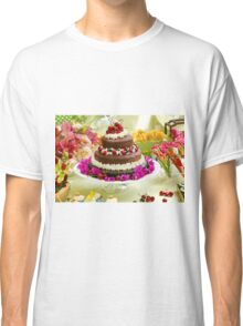 Layer cake decorated with whipped cream and cherries. Classic T-Shirt